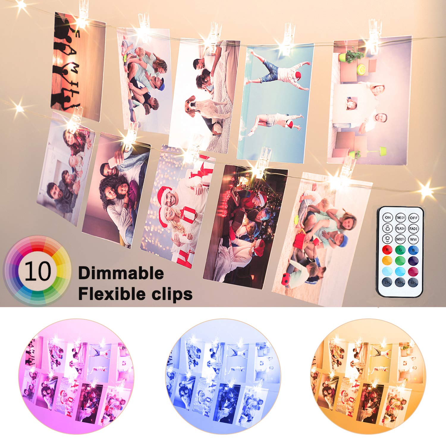 20 LED Photo Clip String Lights, 6.56ft 10 Color Changing Battery Operated & USB Fairy Lights with Remote Timer for Hanging Photo Banner, Cards, Memos, Picture Holder, Indoor Ambiance Wall Decor