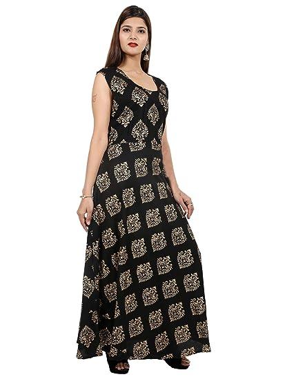 63ac13665cb8 Rayon Black gold print printed 1ps midi dress (kurti) for women