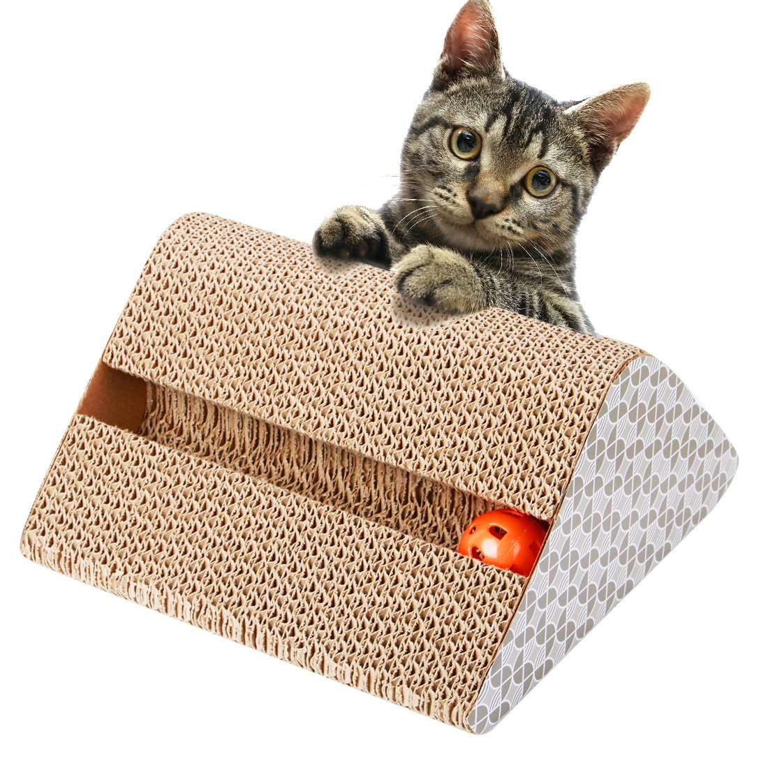 JET-BOND CW011 Cat Toy Scratching Board Triangle Pad Incline Scratcher Kitty ...