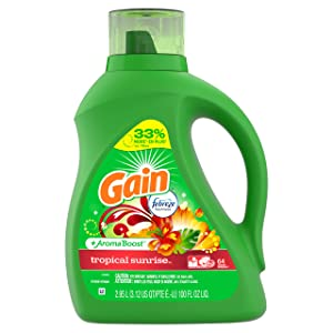 Gain Liquid Laundry Detergent with Febreze Freshness, Tropical Sunrise, 64 Loads 100 fl oz(Packaging May Vary)