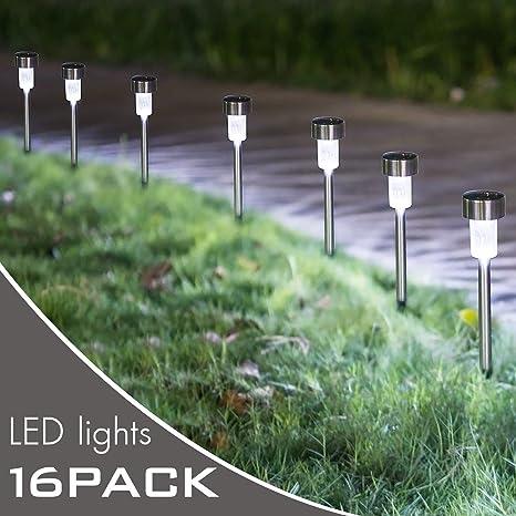 Amazon kamlynn led solar pathway lights 16 pack stainless kamlynn led solar pathway lights 16 pack stainless steel solar powered lights aloadofball Gallery
