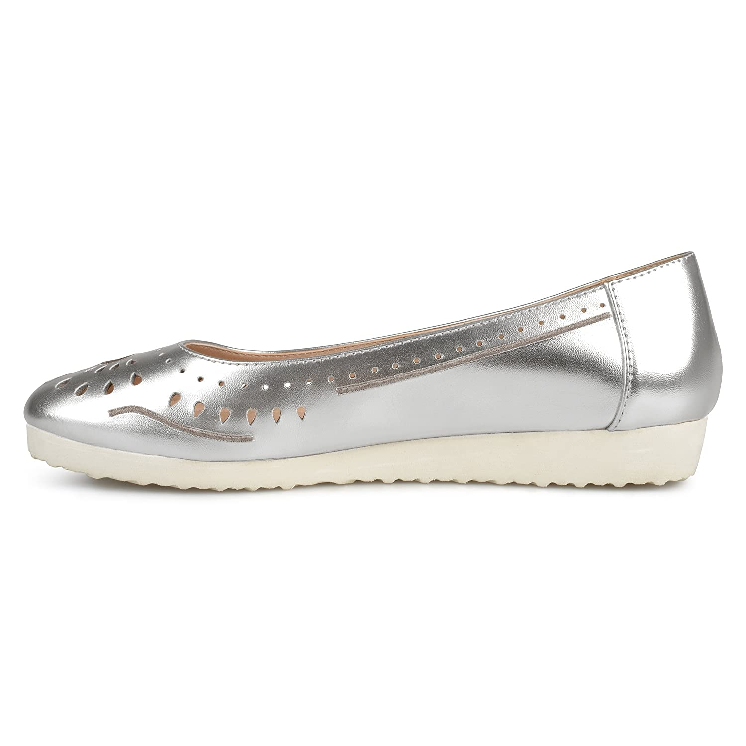 Brinley Co Womens Cyra Faux Leather Laser-Cut Comfort-Sole Embroidered Lightweight Flats B07572T5FR 5.5 B(M) US|Silver