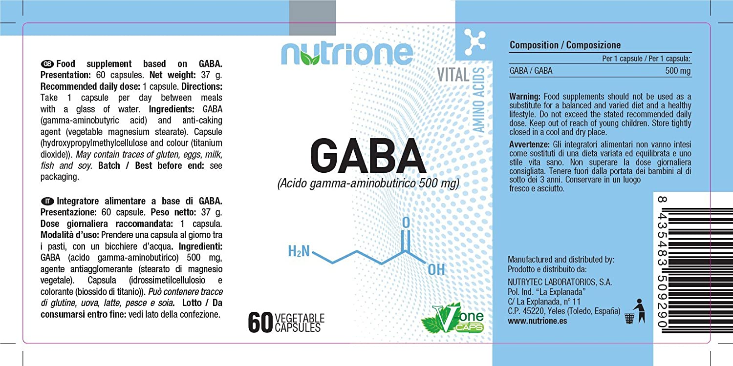 Gaba 500mg 60 cápsulas. Nutrione. 1 und.: Amazon.es: Salud y ...