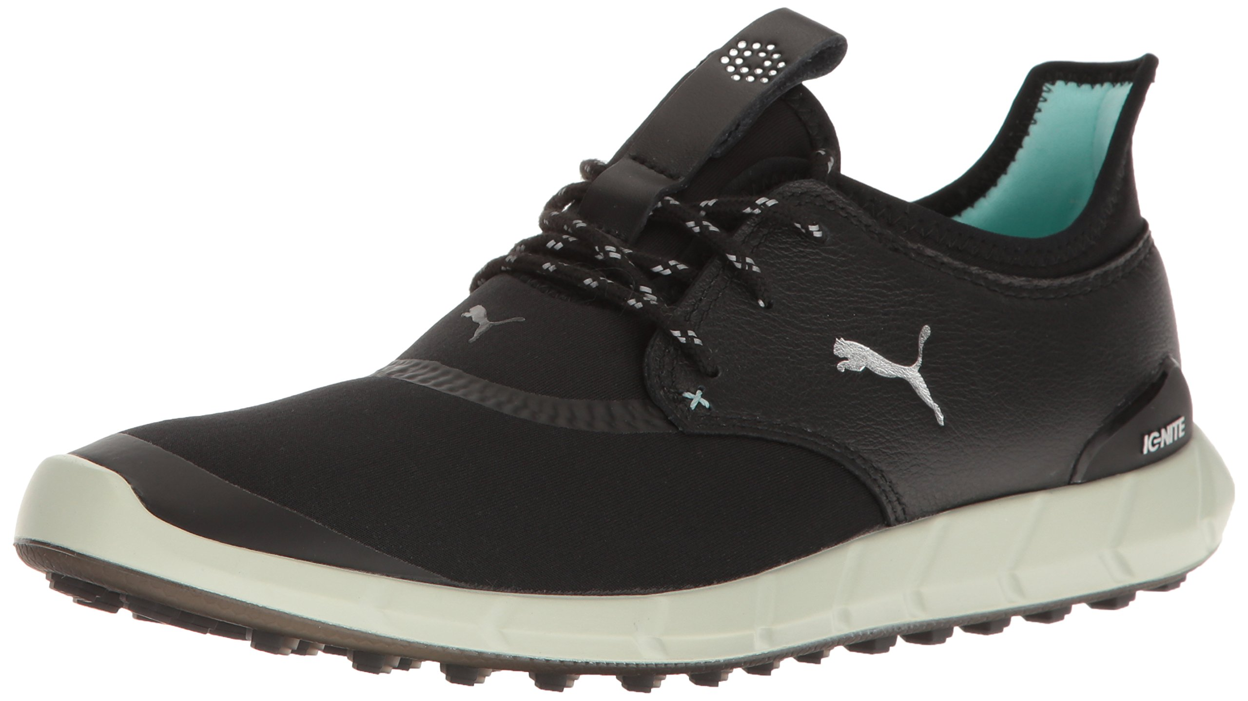 PUMA Women's Ignite Spikeless Sport Wmns Golf Shoe, Black Silver-Aruba Blue, 5.5 Medium US