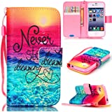 iPhone 4S Case,iPhone 4 Case,JanCalm [Wrist Strap Design][Kickstand] Pattern Premium PU Leather Wallet [Card/Cash Slots] Flip Cover for iPhone 4/4SIncluding-ONE Crystal Pen (Never stop)