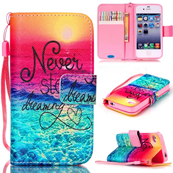 new concept 26a1d 7698b JanCalm iPhone 4S Case,iPhone 4 Case, [Wrist Strap Design][Kickstand]  Pattern Premium PU Leather Wallet [Card/Cash Slots] Flip Cover for iPhone  4/4S ...