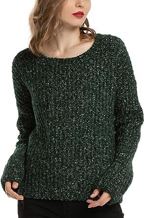 Woolen Bloom Jersey Punto Mujer Camiseta Manga Larga Sueter Invierno Jersey Basico Suelto Jerseys Cuello Redondo Casual Sudadera Mujer Otoño