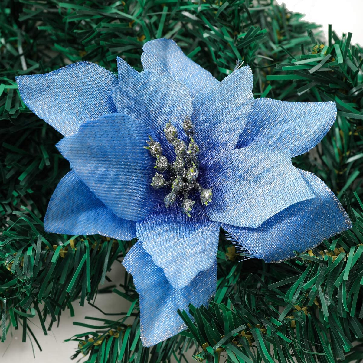 Glitter Poinsettia Flower Christmas Tree Ornament, Artificial Flower Home Decorations for Christmas/Wedding/Holiday Party, Pack of 24, Blue