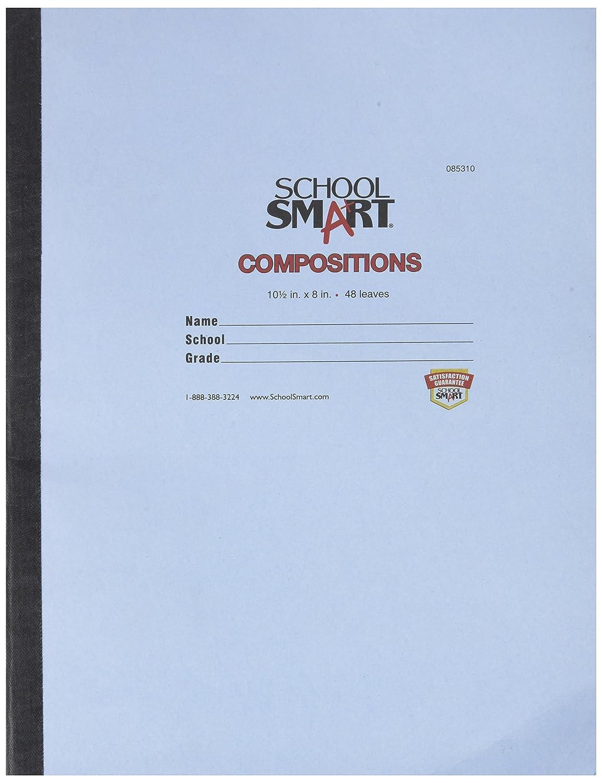 Schule smart genähtes Cover, Zusammensetzung Bücher – Rot Rand – 10 1 2 x 8–48 Blatt – 96 Seiten