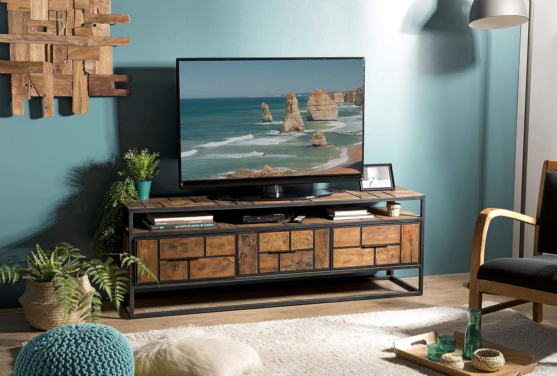 Mueble de TV con 3 cajones, 1 Estante, Teca Reciclado y Metal: Amazon.es: Juguetes y juegos