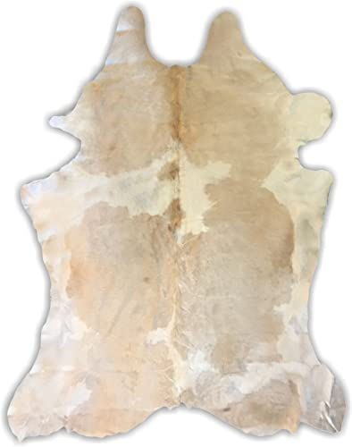7ft x 6ft White Butter Color Cowhide Rug Cowhide Area Rugs by Crown Home Innovations 100 Natural Leather Rugs XL
