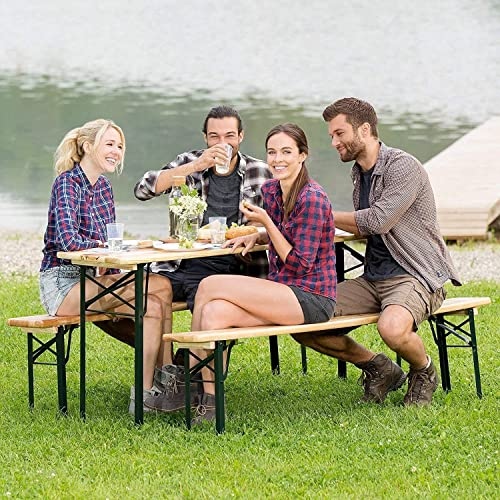 HOMGX 3-Piece Picnic Table, 70 Folding Picnic Table with Benches, Outdoor Portable Wooden Picnic Table, Picnic Beer Table Set with Stable Metal Frame, Camping Picnic Table for Garden, Patio