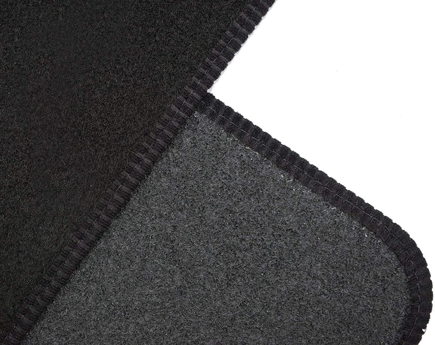 Simply Car Tailored Fit Blue Colour Edge Trim 4pc Black Carpet Floor Mats for Skoda Karoq