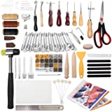 194 Pieces Leather Working Tools, Dorhui Leather Craft Stamping Tools with Cutting Mat Snaps and Rivets Kit, Stitching…