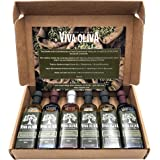 Viva Oliva Six 60 ML Gift Set - Premium Flavored Extra Virgin Olive Oils (Tuscan Herb, Basil, Mushroom & Sage) and All Natura
