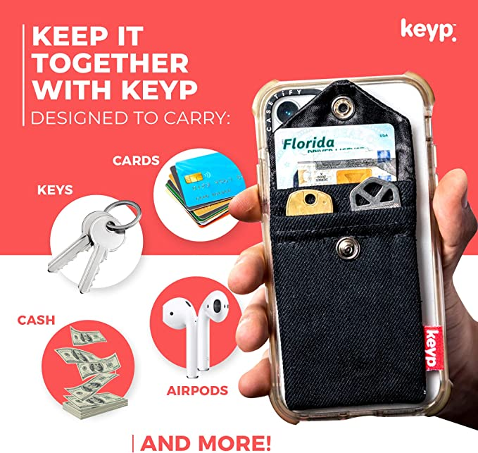 Convenient Stick On Phone Wallet For Keys Attachable Phone Wallet Sticker /& Credit Card Holder For Cell Phone Cards /& Cash Minimalist Black Denim Card Holder For Back of Phone Keyp Phone Wallet