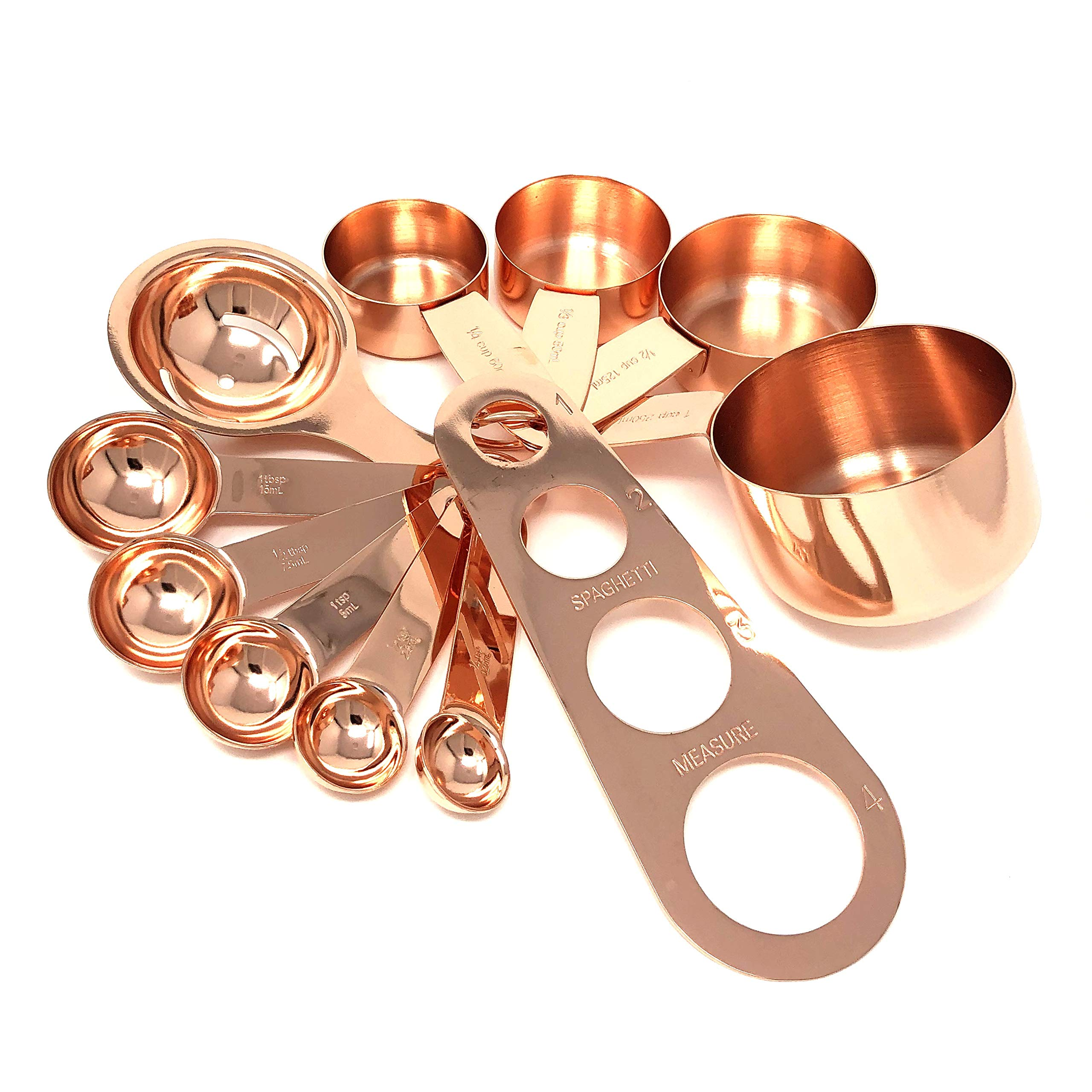 Complete Rose Gold Copper Measuring Set - Cups, Spoons, Spaghetti Measure Tool and Egg Yolk Separator - Premium Stainless Steel by Homey Product