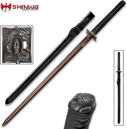 Shinwa Abyss Handmade Katana/Samurai Sword - Double-Edged; Hand Forged Black Damascus Steel - Razor Sharp, Full Tang - Fully Functional, Battle Ready, ...