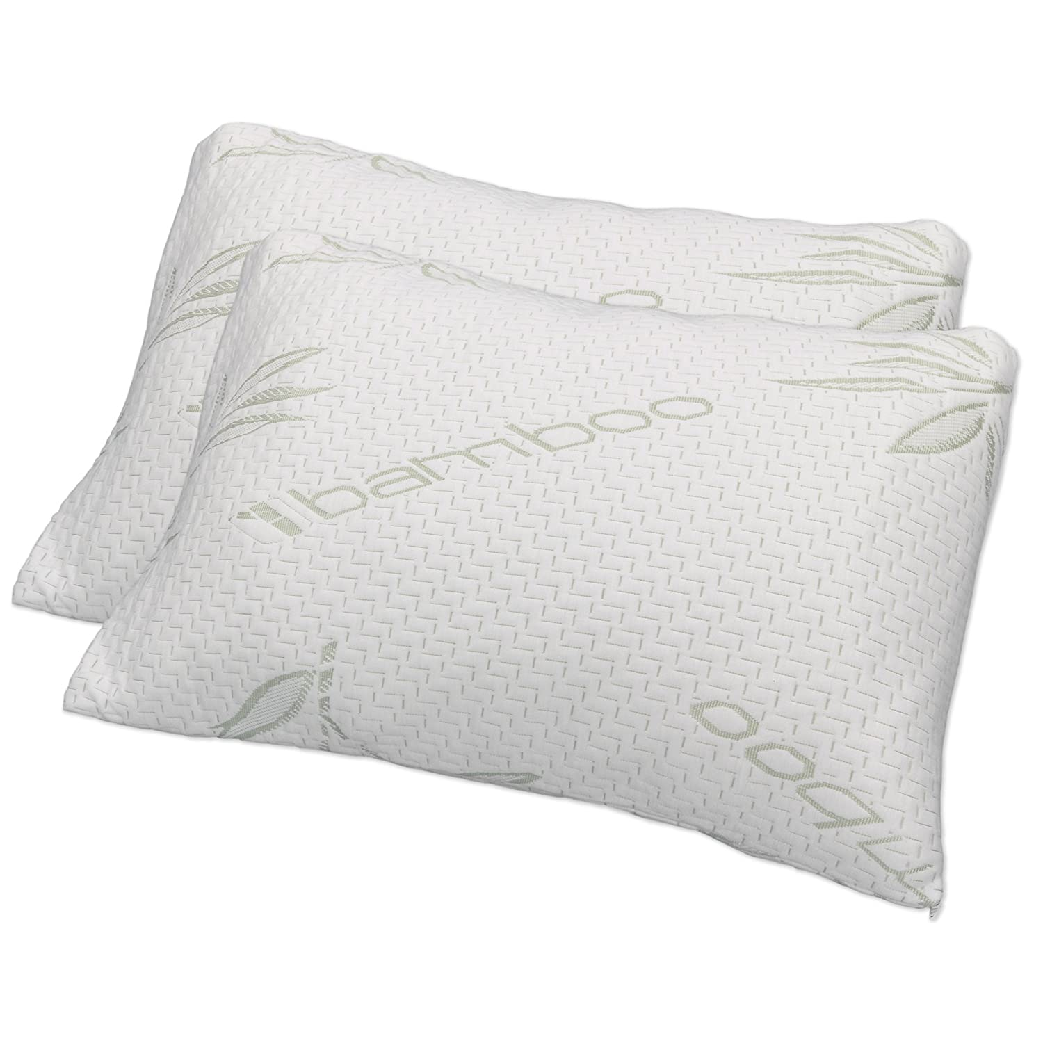 Hotel Comfort Bamboo Covered Memory Foam Pillow- Queen - Set of 2