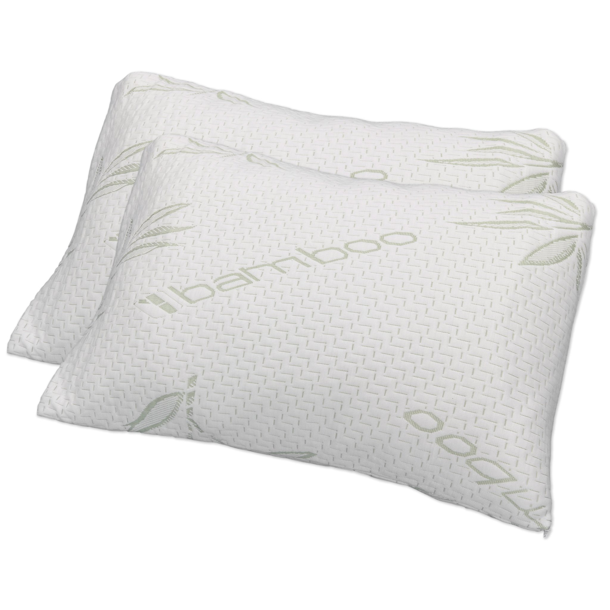 Hotel Comfort Premium Bamboo Memory Foam Pillow Queen Size - Set of 2. Ultra Cool Hypoallergenic Washable Bamboo Cover USA Designed Queen