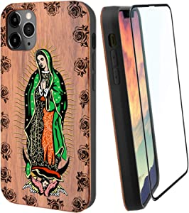 "iProductsUS Virgin Mary Wood Phone Case Compatible with iPhone 11 (6.1"") Including Screen Protector, Compatible with Wireless Charging, Printed and Engraved in USA, TPU Protective Cover (6.1 inch)"