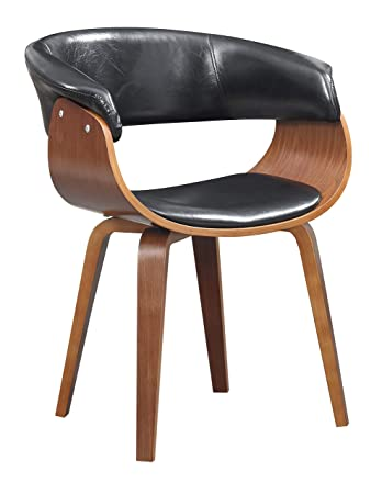 Amazoncom Wood And Black Faux Leather Mid Century 18 Inch Seat
