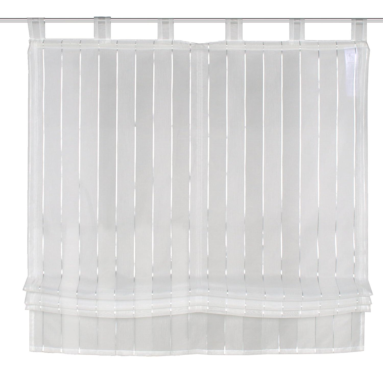 FASHION FOR HOME Home Fashion 79126710Tab-Top Roman Blind Fabric, White, 140x 80cm 79126-710