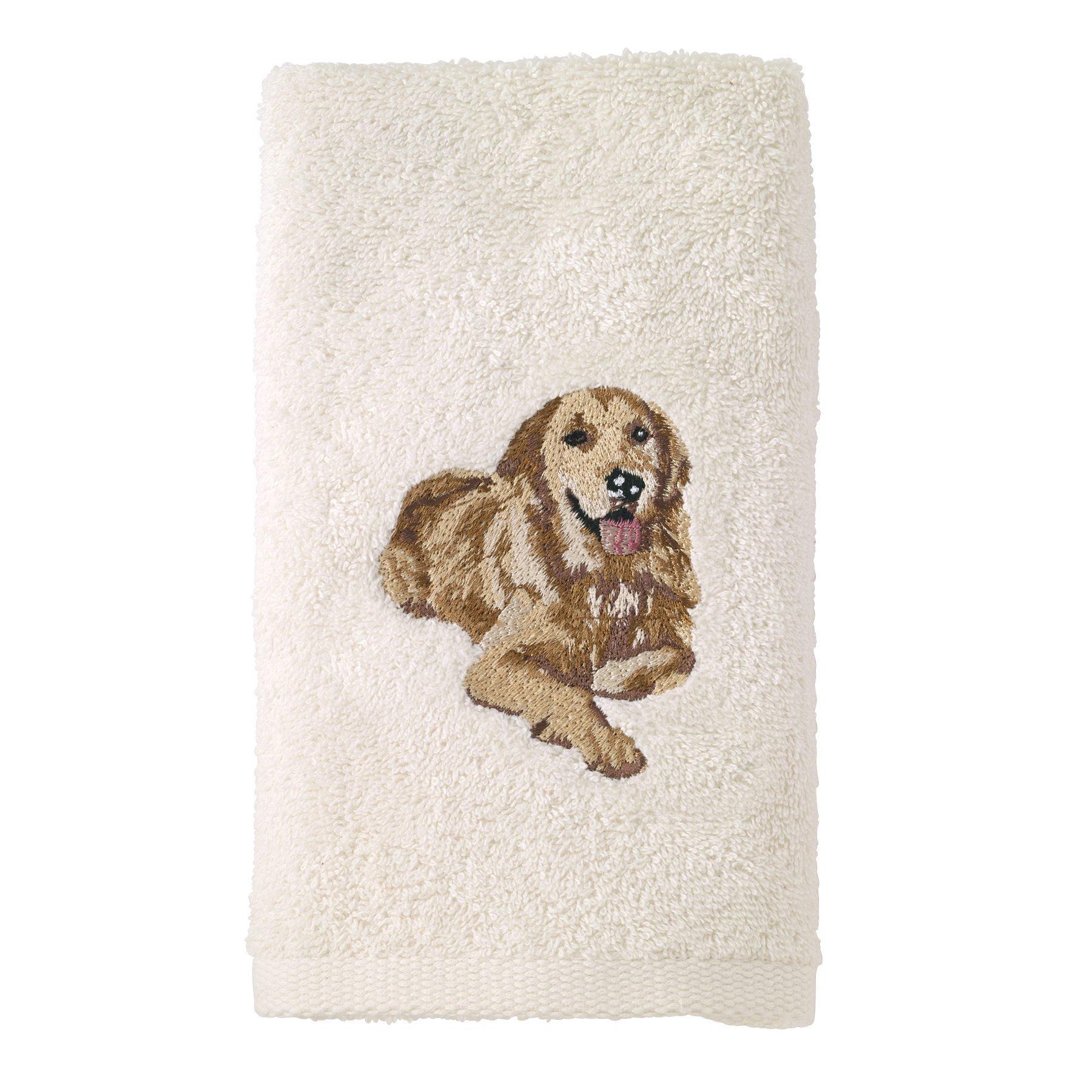 Avanti Linens 021552 GDN Golden Retriever Hand Towel 2 Pack, Ivory, 2 Piece