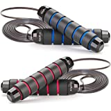 GoxRunx Jump Rope, Tangle-Free with Ball Bearing Cable Speed Rope Skipping Rope for Exercise Fitness, Adjustable Jumping…