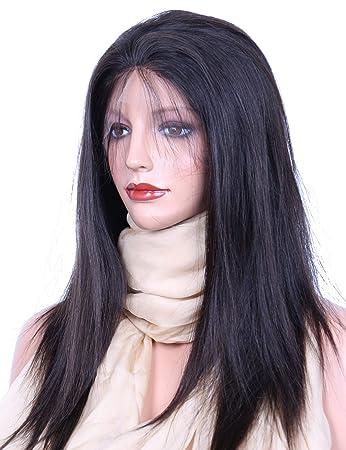 3cf06d123 Amazon.com : VVHair Natural Looking Wigs Virgin Malaysian Real Human Hair  Lace Front Wig Medium Cap Natural Black Color 12 Inch Medium Cap Size :  Beauty