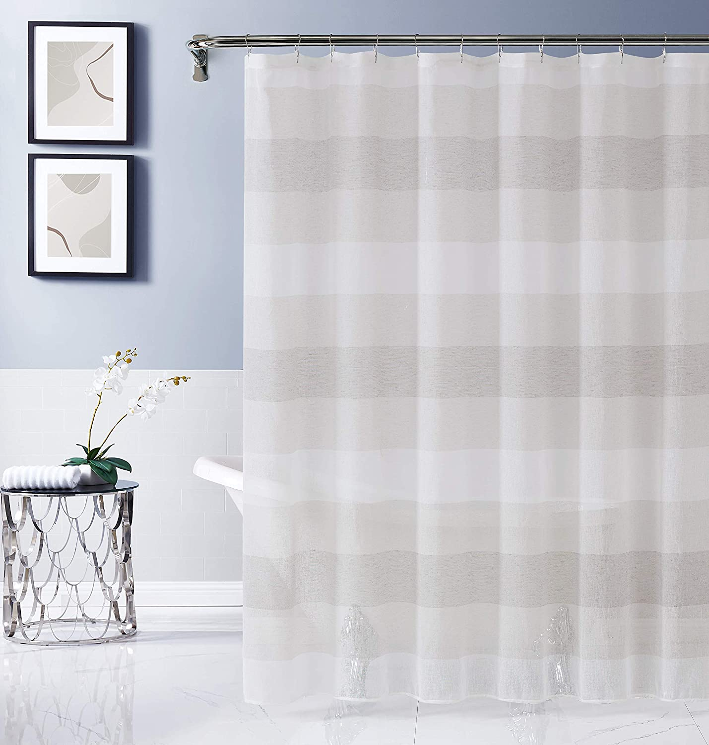 Dainty Home CHELSSCLI Fabric Shower Curtain, Linen