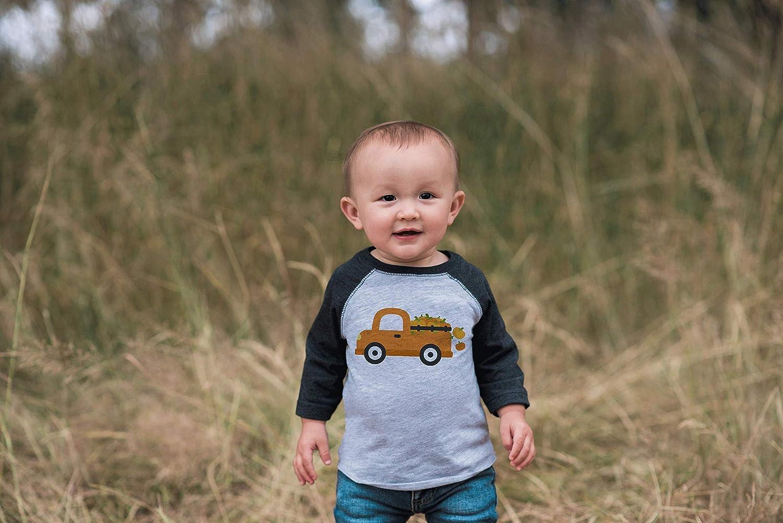 7 ate 9 Apparel Kids Pumpkin Truck Halloween Fall Shirt Grey