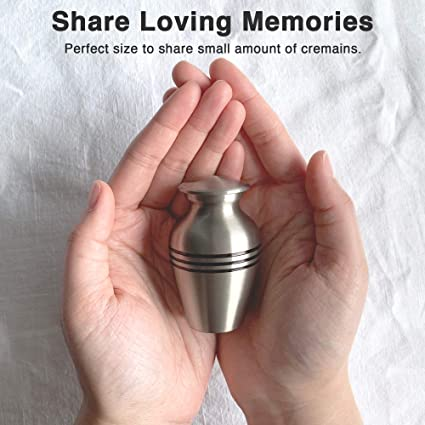 Adera Dreams Small Urns for Human Ashes Keepsake Velvet Pouch and Funnel Miniature Burial Funeral Urns for Sharing Ash Mini Cremation Urns Set of 4 in Pewter Memorial Ashes Urn with Case