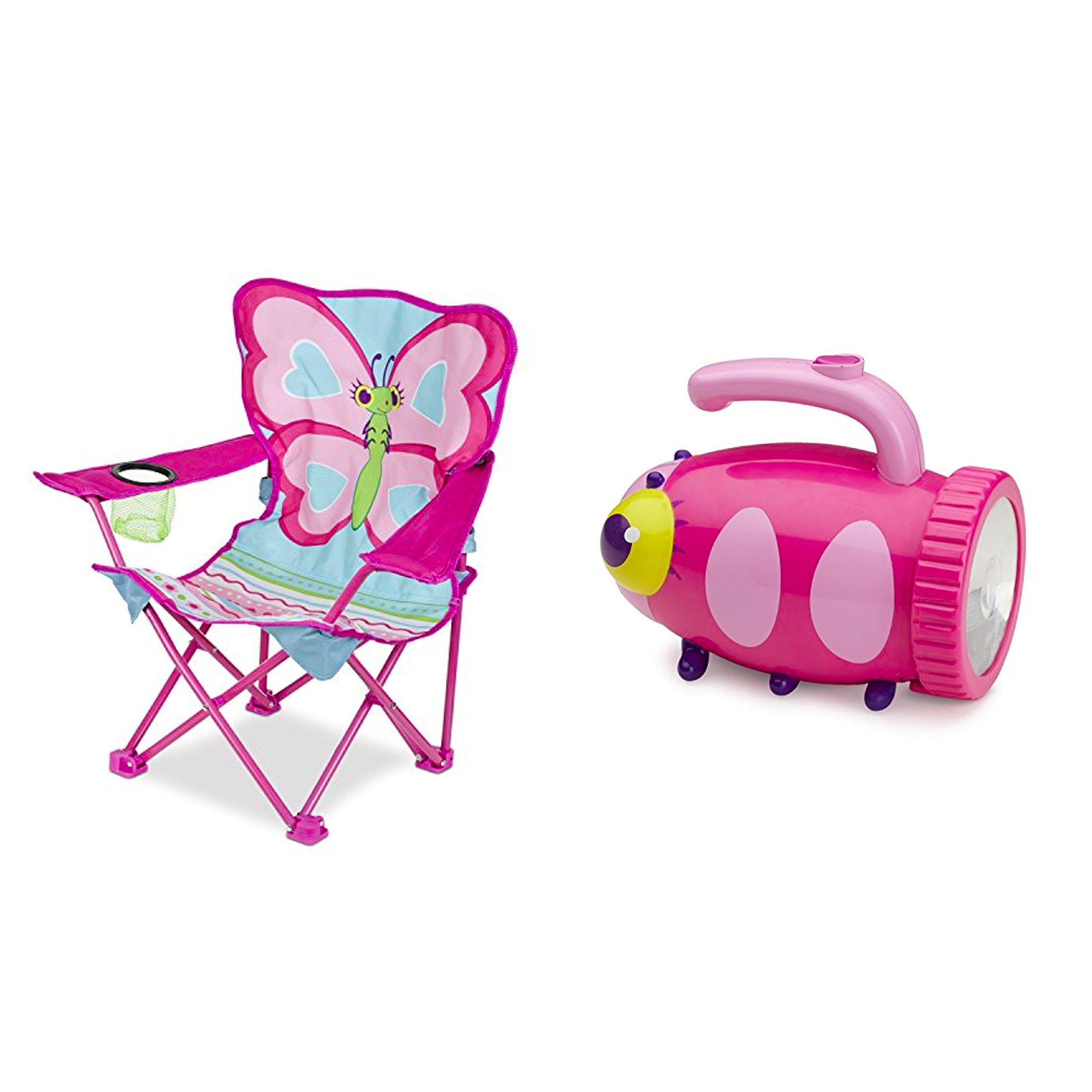 Island Time Brands Bundle Includes 2 Items - Melissa & Doug 27'' x 25'' x 15'' Cutie Pie Butterfly Camp Chair and Melissa & Doug Sunny Patch Trixie Ladybug Flashlight With Easy-Grip Handle