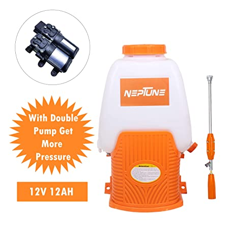 NEPTUNE SIMPLIFY FARMING Battery Operated Knapsack Garden Sprayer with Double Pump, 20L (BS708)