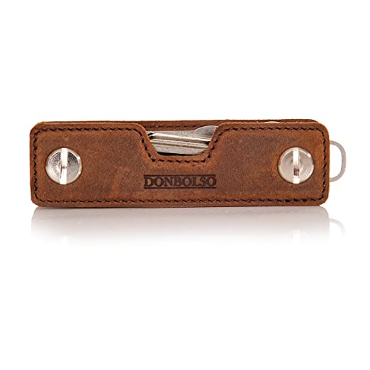 Donbolso Key Organizer Leder mit Schraube aus Edelstahl Herren Schlüssel Organizer mit Einkaufswagenlöser und Flaschenöffner