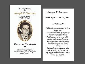 Funeral Memory Cards - Funeral Memorial Prayer Cards - 50 Cards