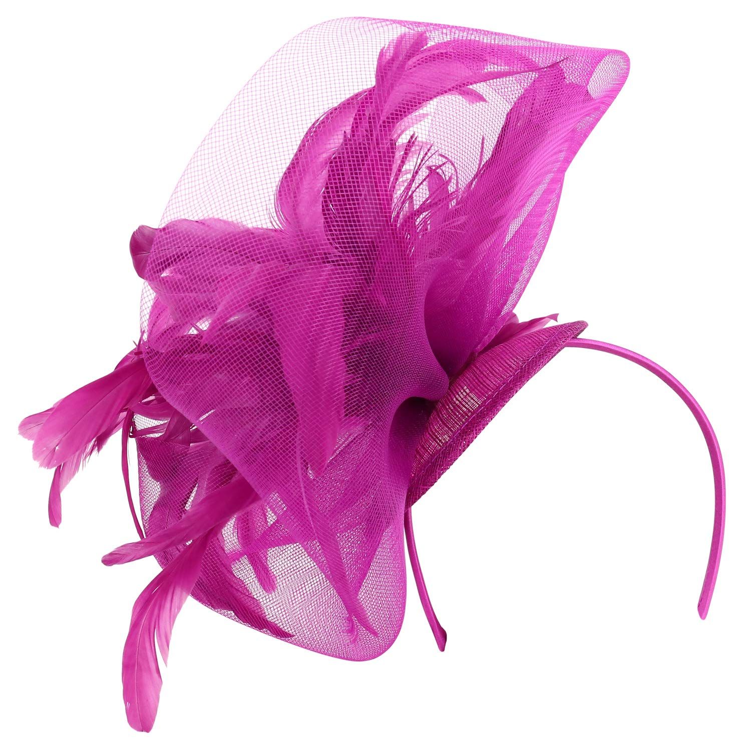 Trendy Apparel Shop Feathers Mesh Net Sinamay Cocktail Party Fascinator Headband