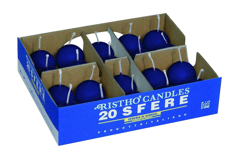 Cera Cereria di Giorgio Risth/ò Candele Sfera Blu 3x3x3 cm 20 unit/à