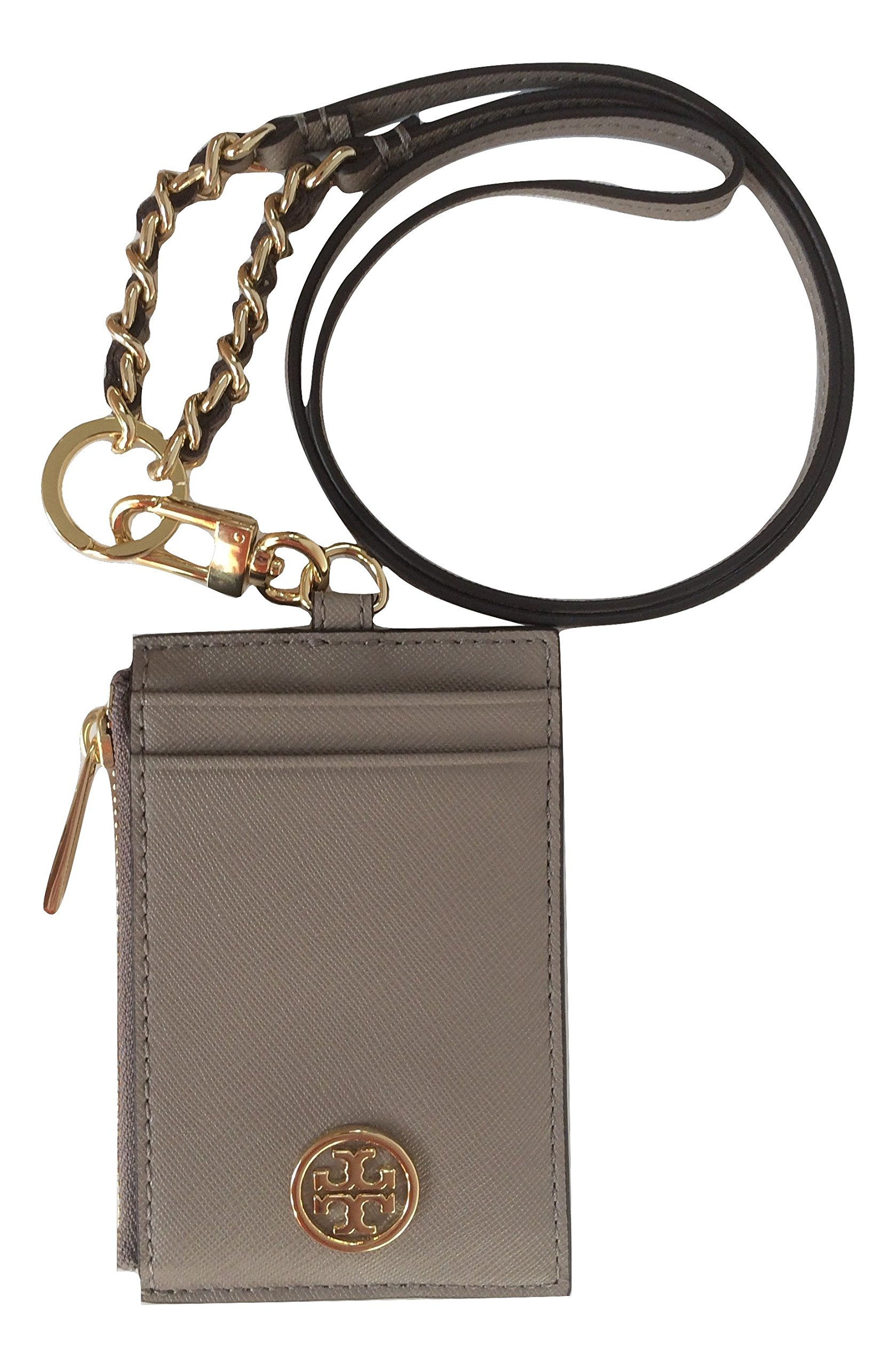 Tory Burch Robinson Lanyard Slim Card Case ID Leather TB Logo Travel Chain (French Gray) by Tory Burch