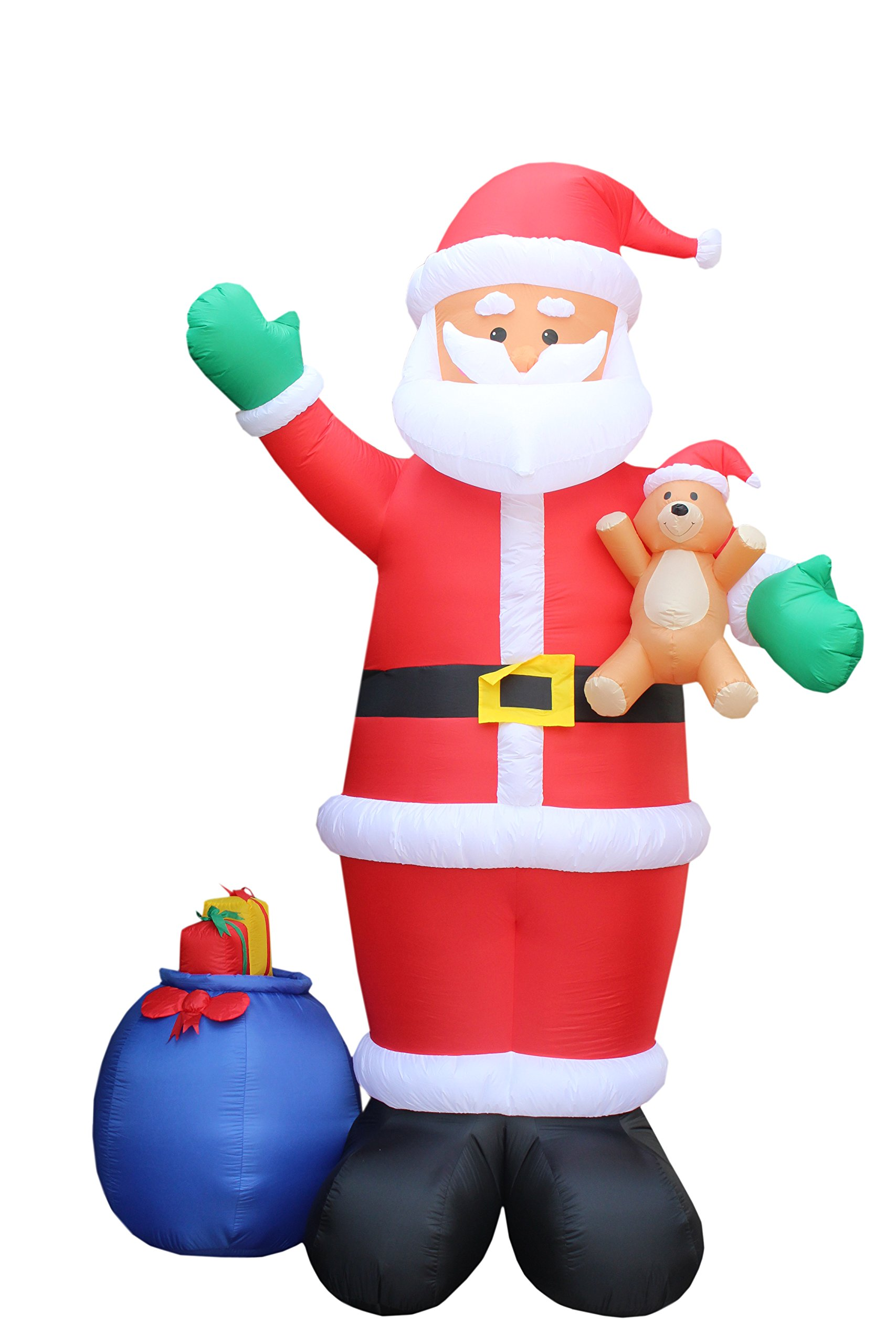12 Foot Christmas Inflatable Santa Claus with Gift Bag and Bear Yard Garden Decoration by BZB Goods (Image #3)