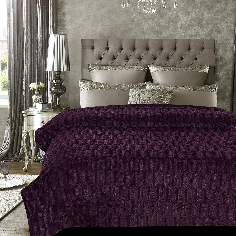 Chanasya Super Soft Fuzzy Faux Fur Elegant Rectangular Embossed Throw Blanket - Fluffy Plush Sherpa Microfiber Purple Blanket for Bed Couch Living Room Fall Winter Spring King Blanket - Aubergine