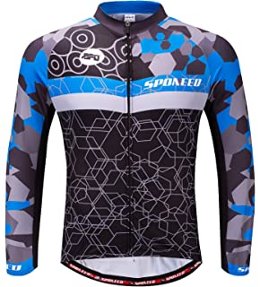 sponeed Men s Bicycle Shirts Long Sleeve Biker Jerseys Full Zipper Winter Cycling  Gear Breathable b7b7e34f1
