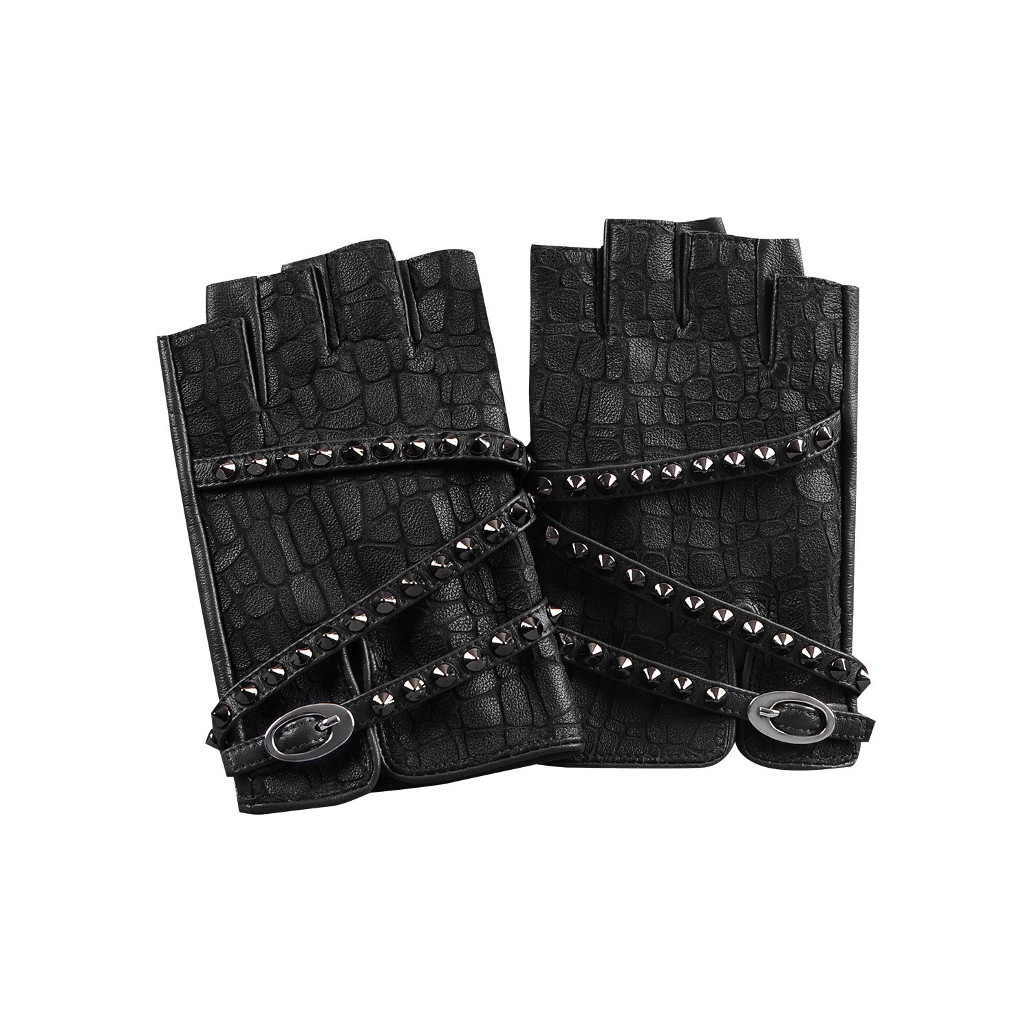 Fioretto Womens Driving Leather Gloves Harley Fingerless Gloves Outdoor Italian Genuine Goatskin Leather Half Finger Gloves Punk Rock Rivets Unlined Black 7