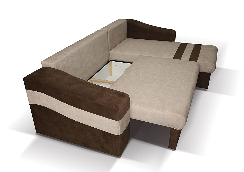 Polstermöbel Lio in braun mit Staukasten und Bettfunktion – Abmessungen: 253 x 165 cm (L x B) - Ottomane: Rechts