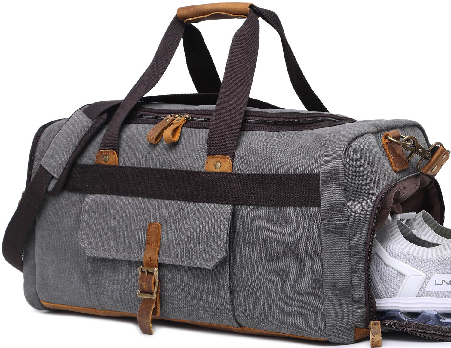 Weekender Overnight Duffel Bag with Shoes Compartment for Women Men Canvas Weekend Travel Tote Carry On Bag by BLUBOON