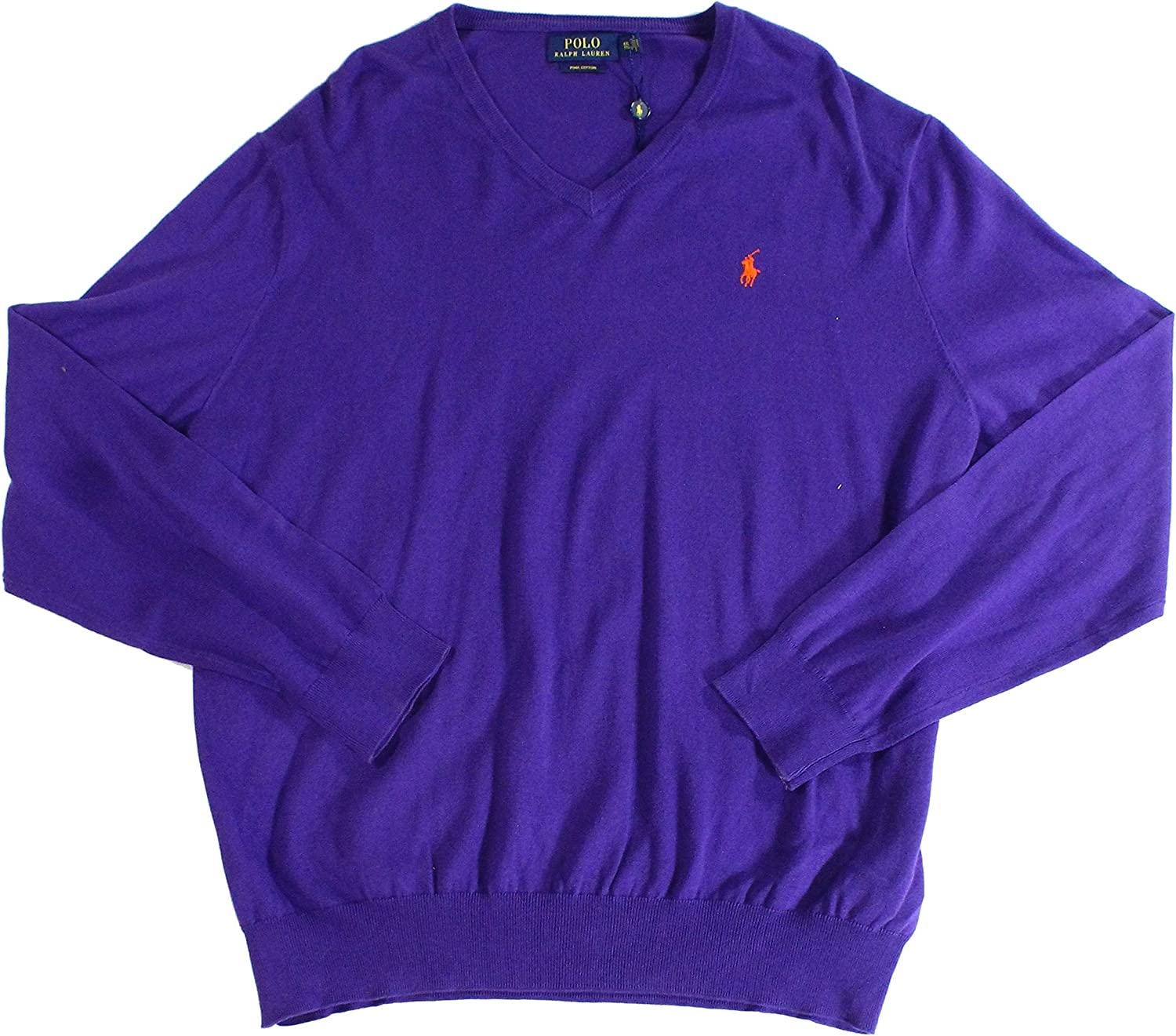 Ralph Lauren Polo Mens V-Neck Pima Cotton Pullover Sweater