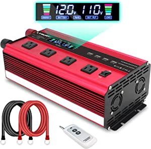 LVYUAN Power Inverter 2500W Inverter 12V to 110V DC to AC DC 12V Inverter with Remote Control, LCD Display, 4 AC Sockets, 4 USB Charge Ports