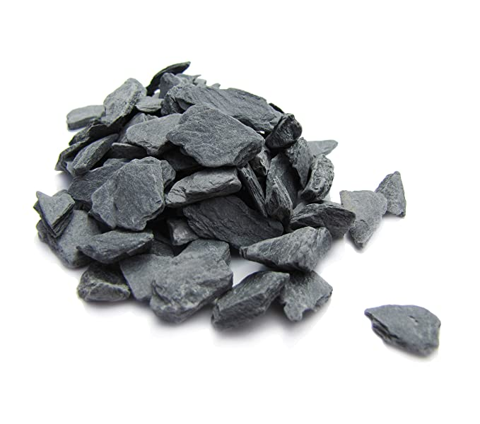Natural Slate Stone - 1/4 to 1/2 inch Slate Gravel for Miniature or Fairy Garden, Aquarium, Model Railroad & Wargaming 1lb