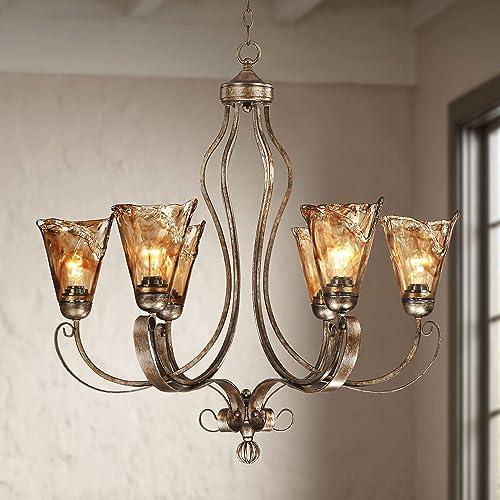 Amber Scroll Golden Bronze Silver Large Chandelier 31 1/2″ Wide Rustic Art Glass 6-Light Fixture